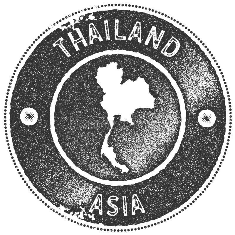 Timbre de vintage de carte de la Tha?lande illustration stock
