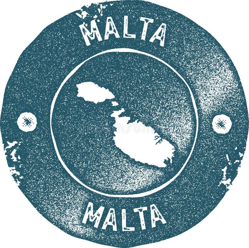 Timbre de vintage de carte de Malte illustration stock