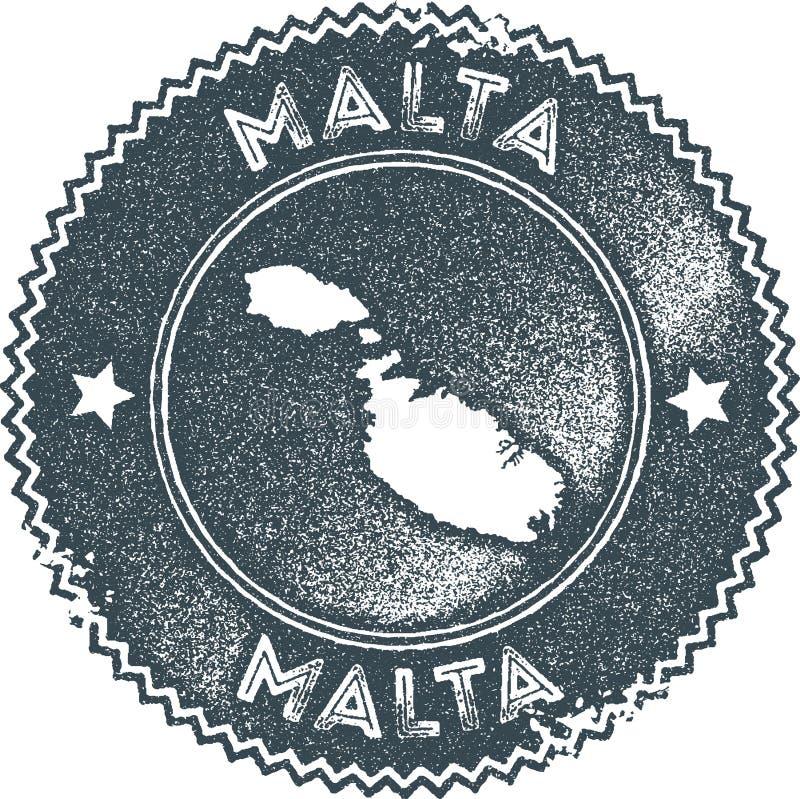 Timbre de vintage de carte de Malte illustration de vecteur