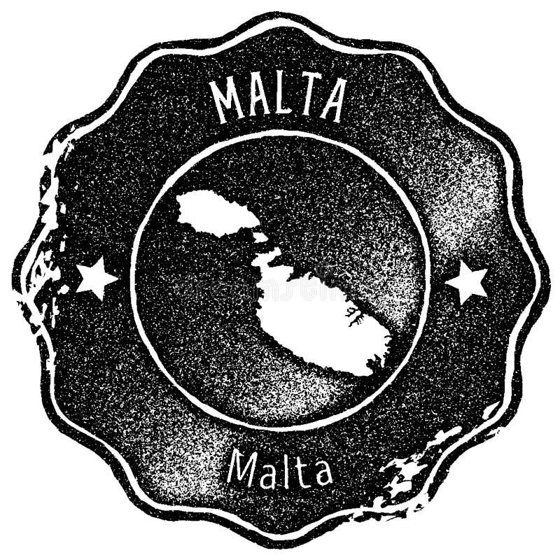 Timbre de vintage de carte de Malte illustration libre de droits