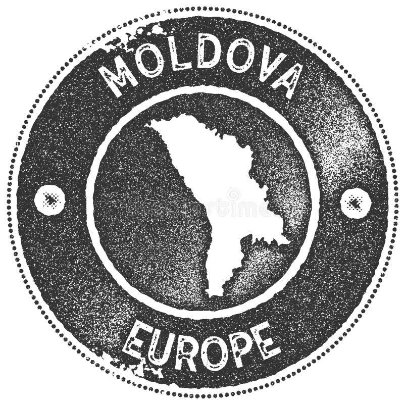 Timbre de vintage de carte de Moldau illustration de vecteur