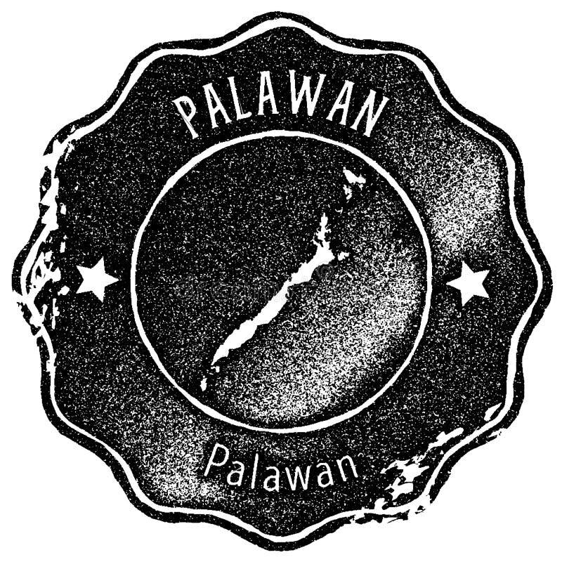 Timbre de vintage de carte de Palawan illustration stock