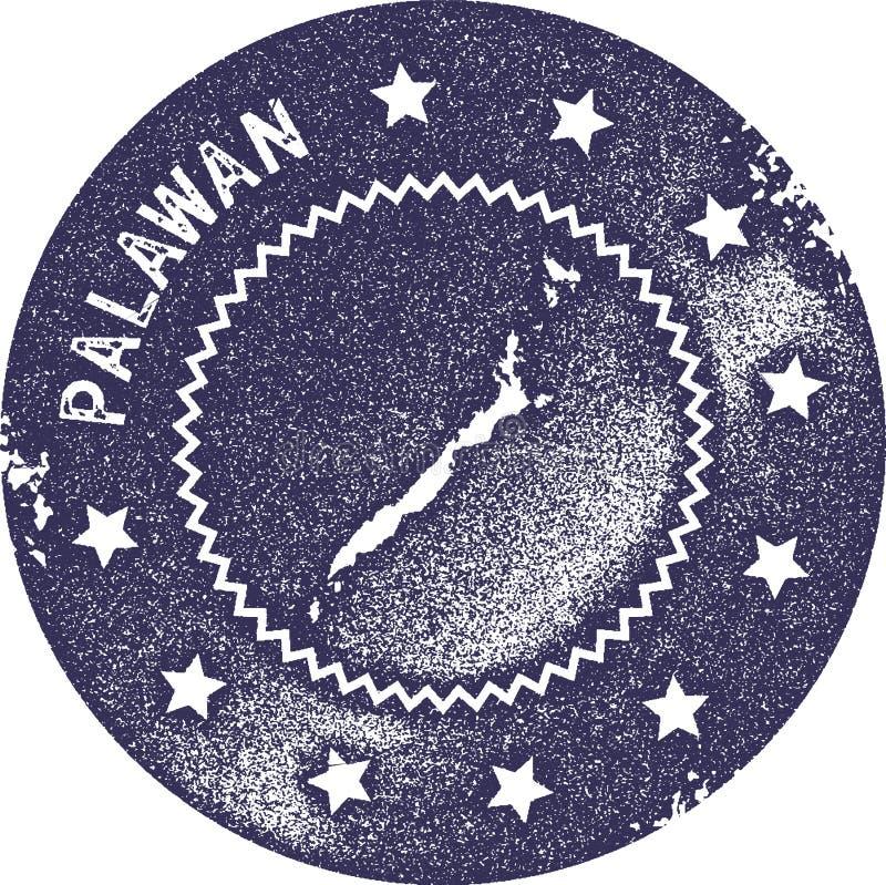 Timbre de vintage de carte de Palawan illustration libre de droits