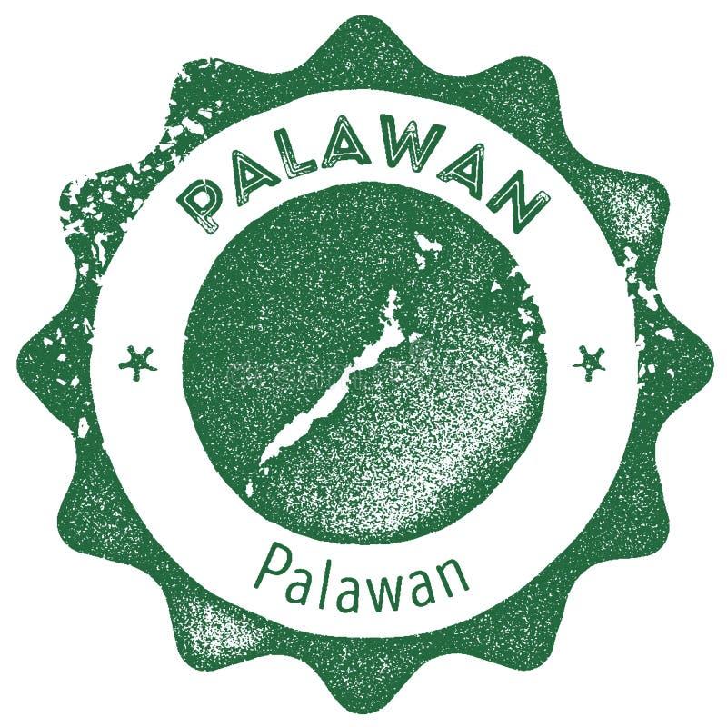 Timbre de vintage de carte de Palawan illustration de vecteur