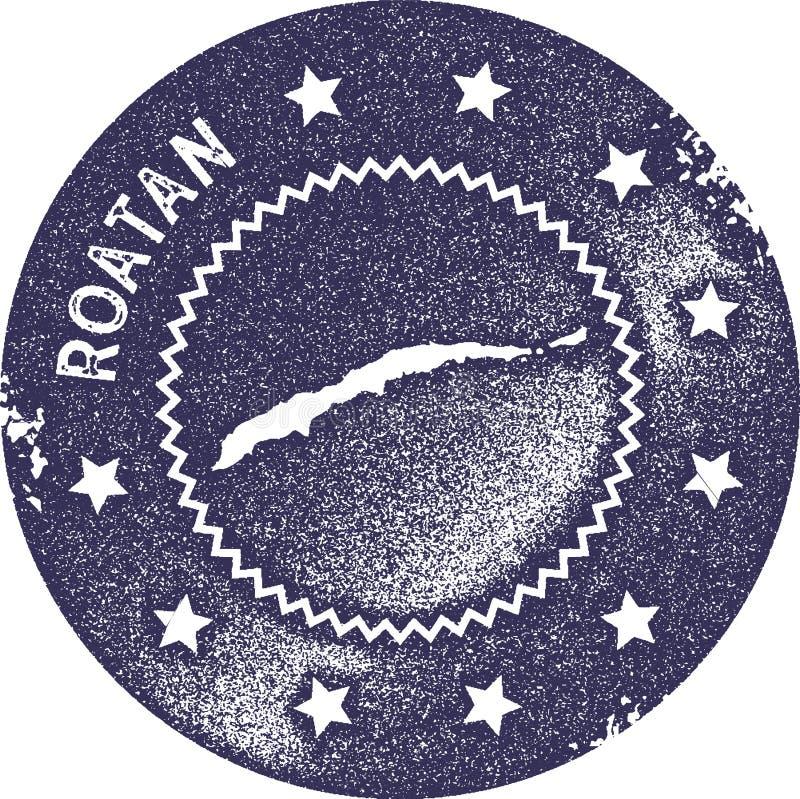 Timbre de vintage de carte de Roatan illustration stock