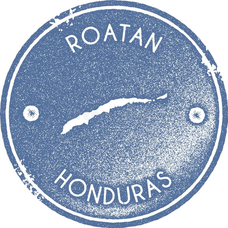 Timbre de vintage de carte de Roatan illustration de vecteur
