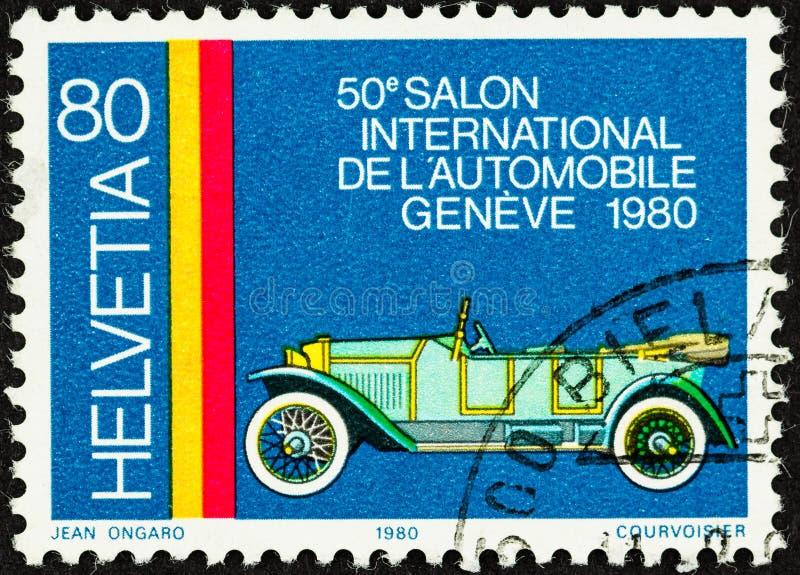 Timbre des véhicules à moteur commémoratif de la Suisse photos stock