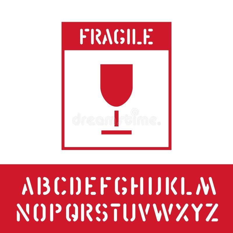 Timbre fragile de paquet avec l'alphabet de cargaison pour le signe de boîte en bois Manipulez avec soin Vecteur illustration de vecteur