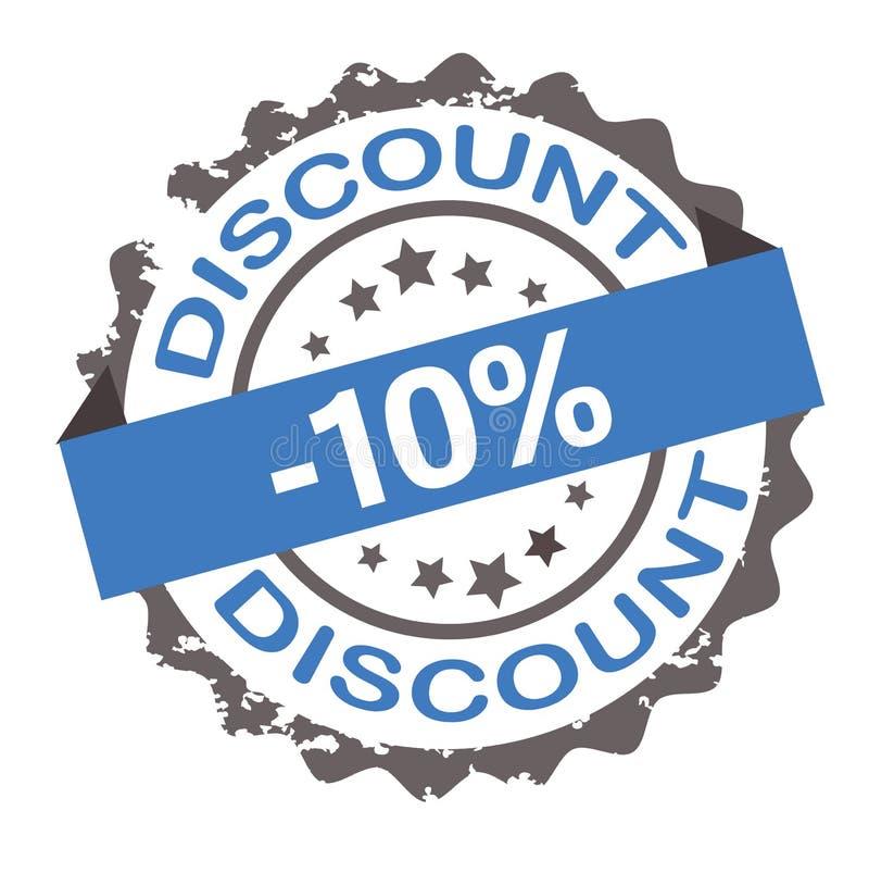 Timbre grunge bleu de la remise 10% signe sceau illustration de vecteur