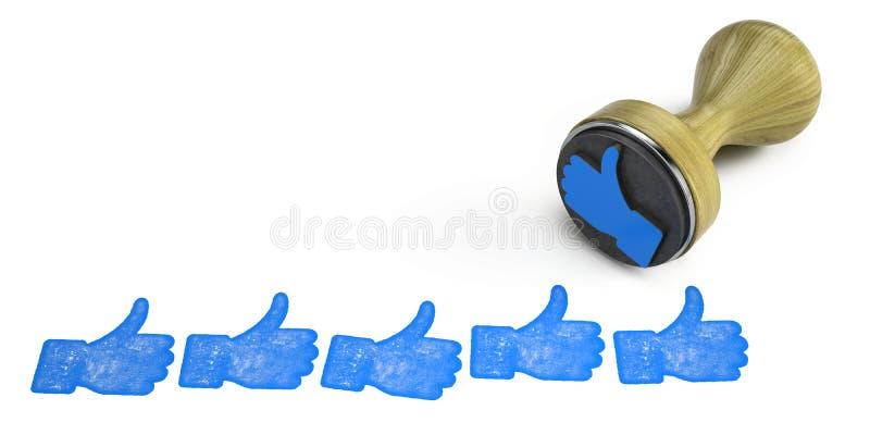 Timbre haut de coup sur le blanc Comme, doigt de main vers le haut de concept de symbole illustration libre de droits