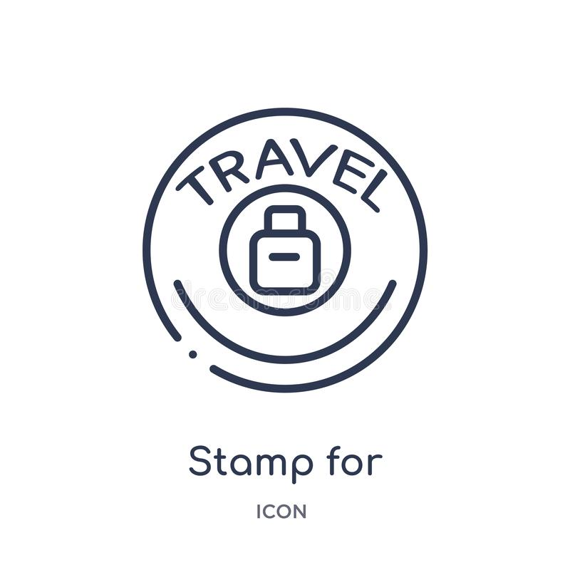 Timbre linéaire pour l'icône de passeports de la collection d'ensemble de terminal d'aéroport Ligne mince timbre pour le vecteur  illustration de vecteur