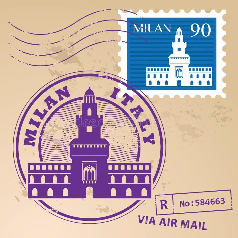 Timbre Milan réglé illustration libre de droits