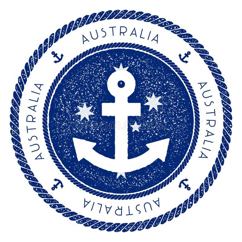 Timbre nautique de voyage avec le drapeau d'Australie et illustration de vecteur