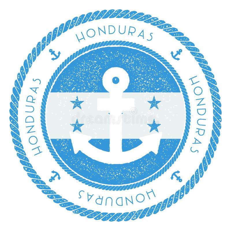Timbre nautique de voyage avec le drapeau du Honduras et illustration libre de droits