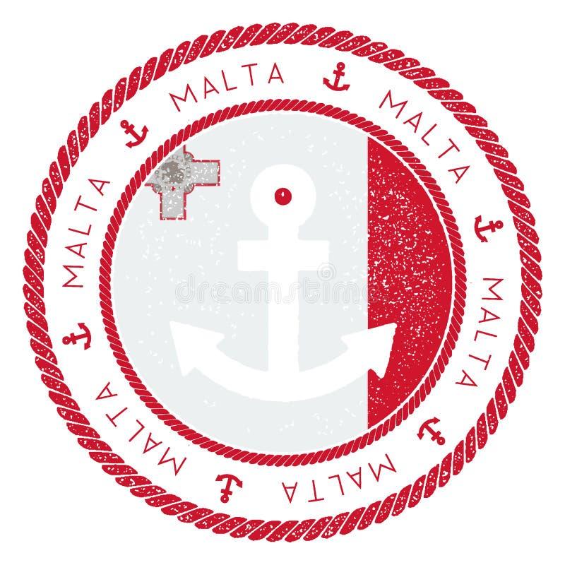 Timbre nautique de voyage avec le drapeau et l'ancre de Malte illustration de vecteur