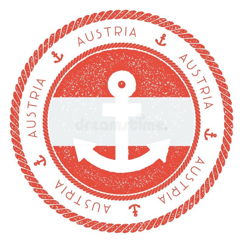 Timbre nautique de voyage avec le drapeau de l'Autriche et illustration libre de droits
