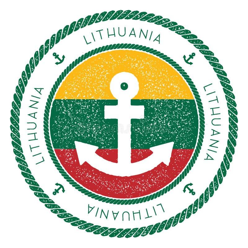Timbre nautique de voyage avec le drapeau de la Lithuanie et illustration stock
