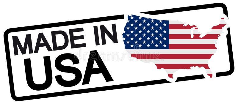 timbre noir avec le texte fabriqué aux Etats-Unis illustration de vecteur