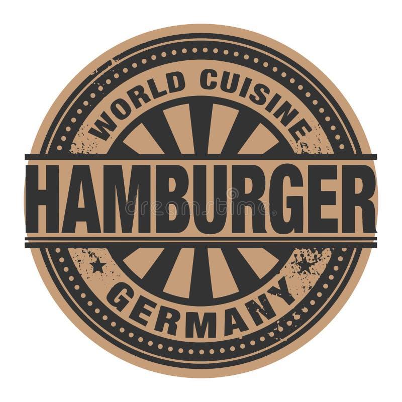 Timbre ou label abstrait avec la cuisine du monde des textes, hamburger W illustration libre de droits