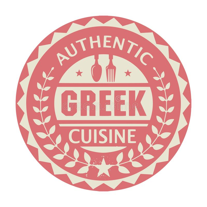 Timbre ou label abstrait avec la cuisine grecque authentique des textes illustration de vecteur