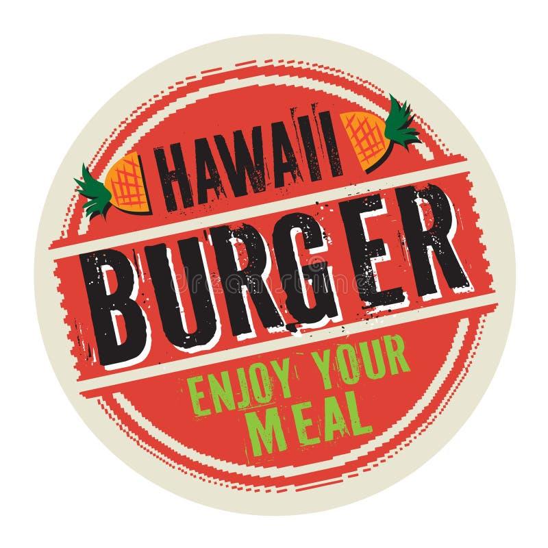 Timbre ou label avec l'hamburger d'Hawaï des textes illustration stock