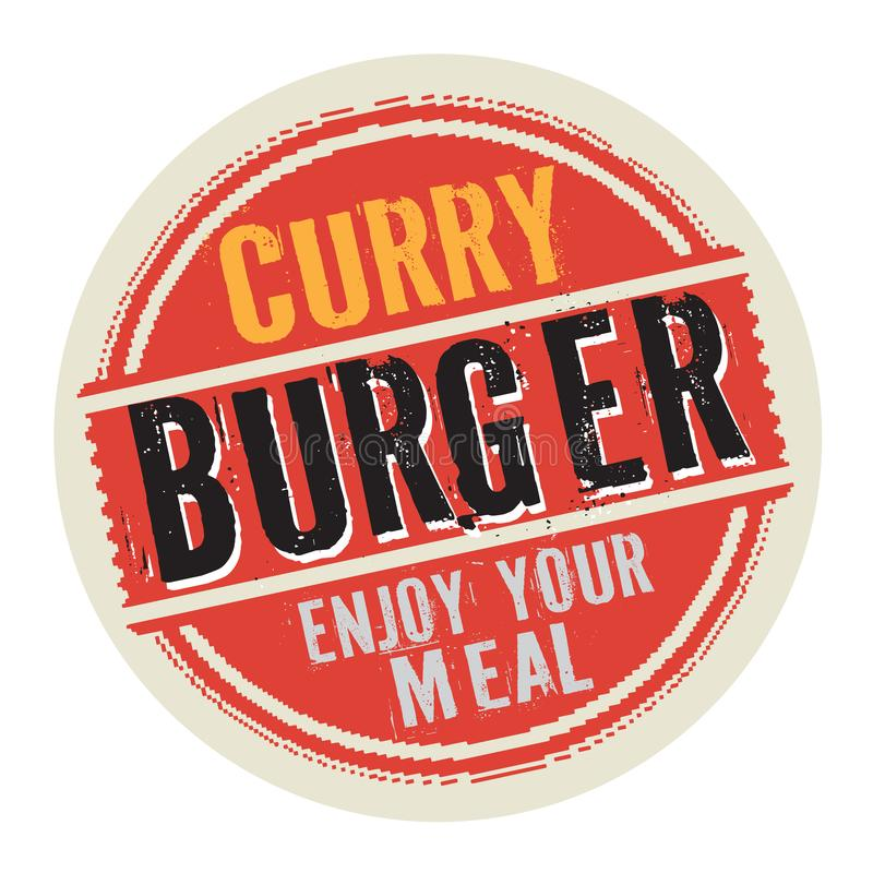 Timbre ou label avec l'hamburger de cari des textes illustration stock