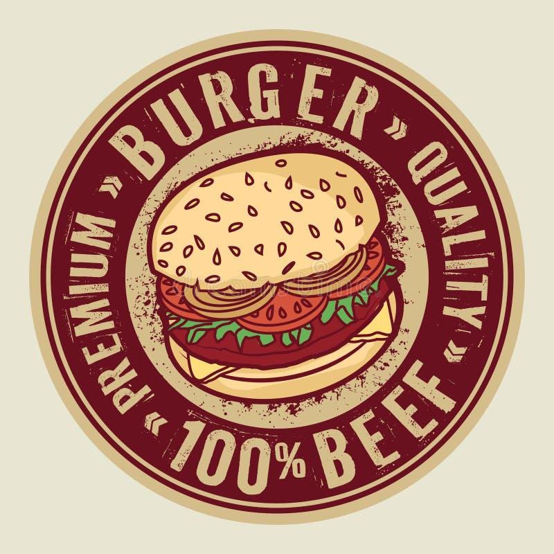 Timbre ou label avec le grand hamburger illustration stock