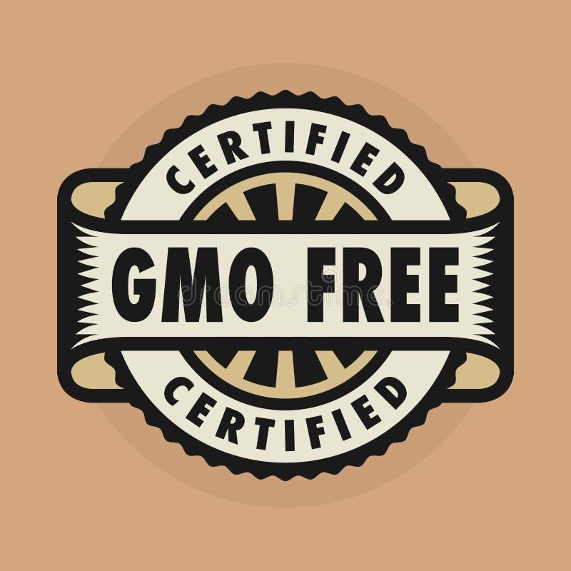 Timbre ou label avec le texte GMO libre, certifié illustration stock