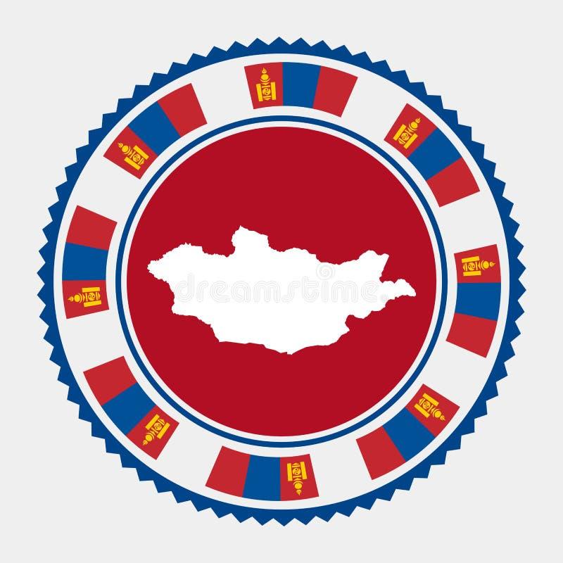 Timbre plat de la Mongolie illustration stock