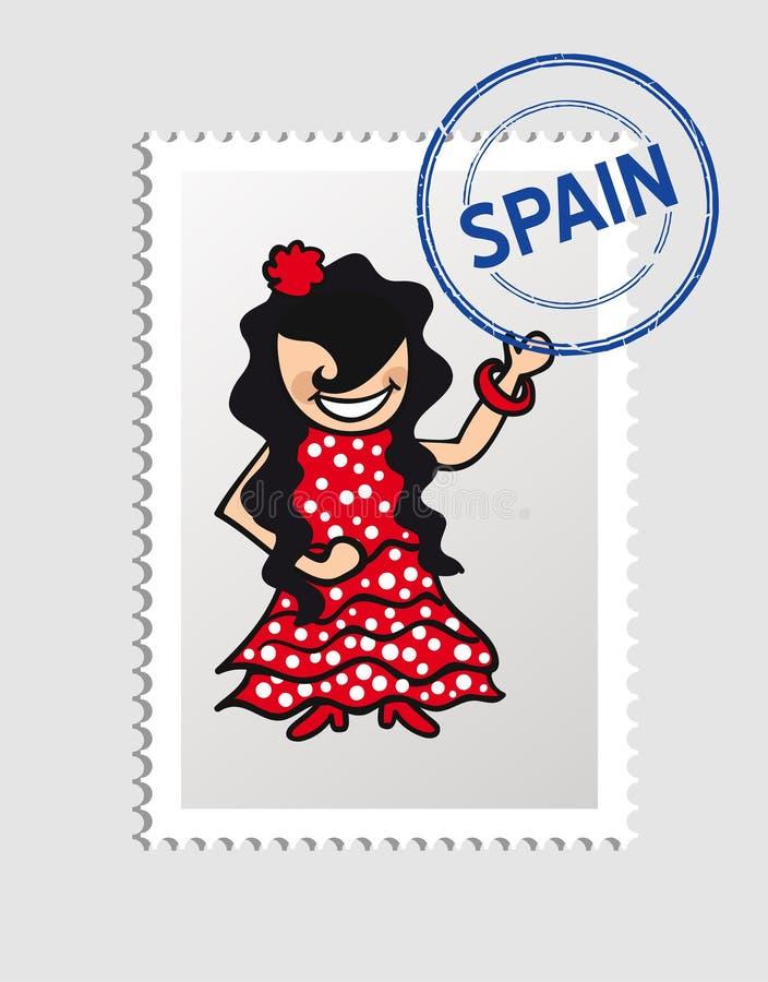 Timbre postal de personne espagnole de bande dessinée illustration stock