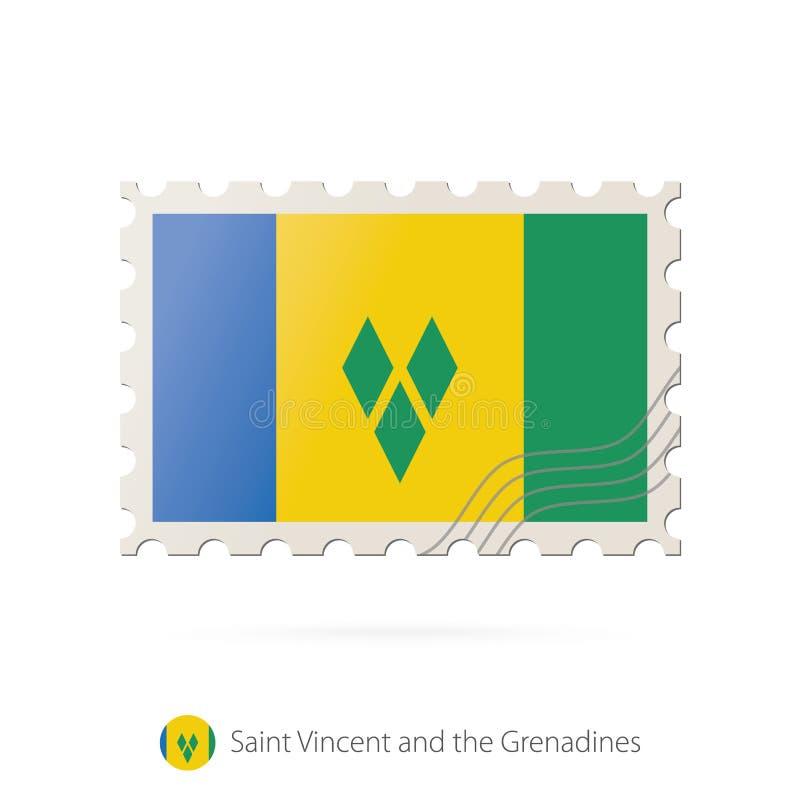 Timbre-poste avec l'image de Saint-Vincent-et-les-Grenadines illustration libre de droits