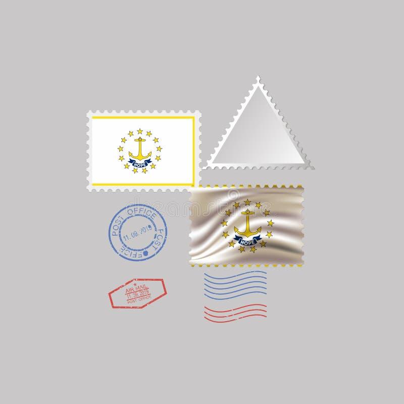 Timbre-poste avec l'image du drapeau d'?tat d'?le de Rhode Illustration de vecteur illustration de vecteur