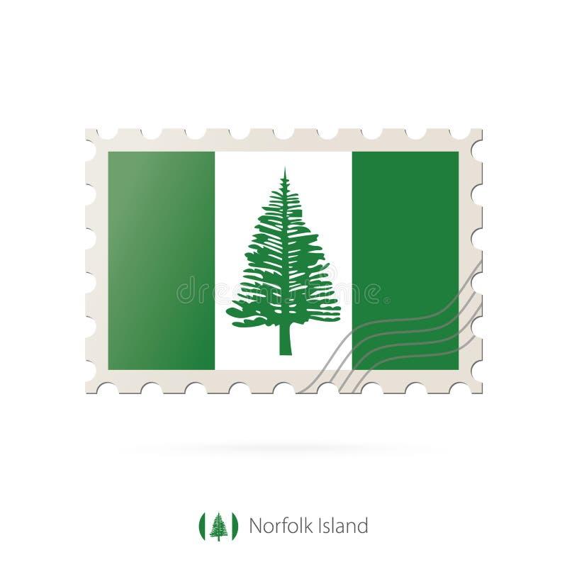 Timbre-poste avec l'image du drapeau de l'Île Norfolk illustration de vecteur