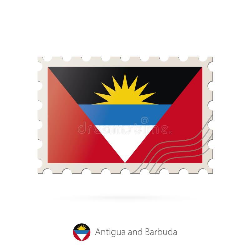 Timbre-poste avec l'image du drapeau de l'Antigua-et-Barbuda illustration stock