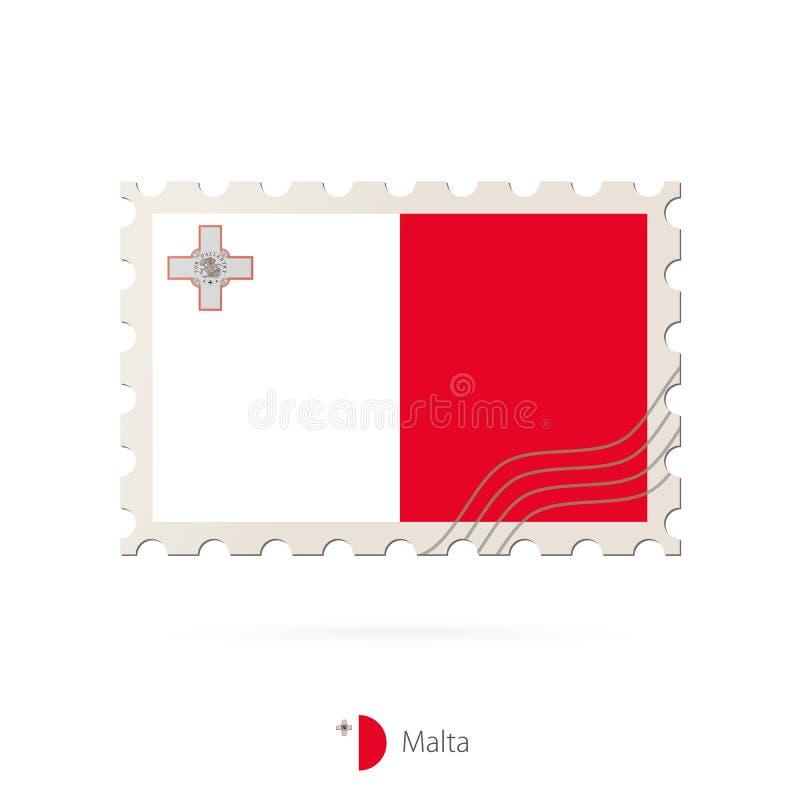 Timbre-poste avec l'image du drapeau de Malte illustration stock