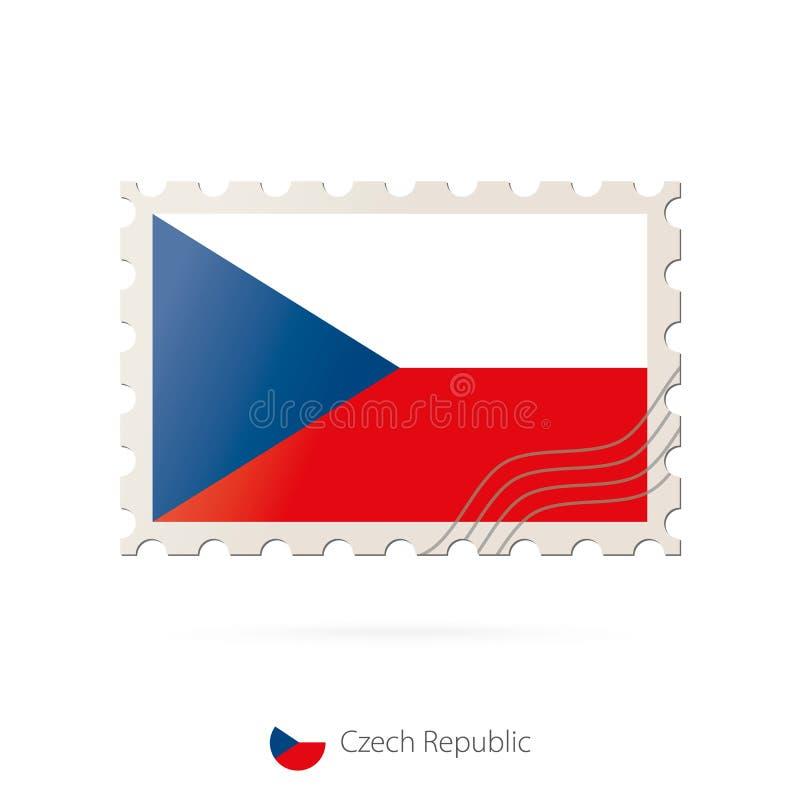 Timbre-poste avec l'image du drapeau de République Tchèque illustration stock