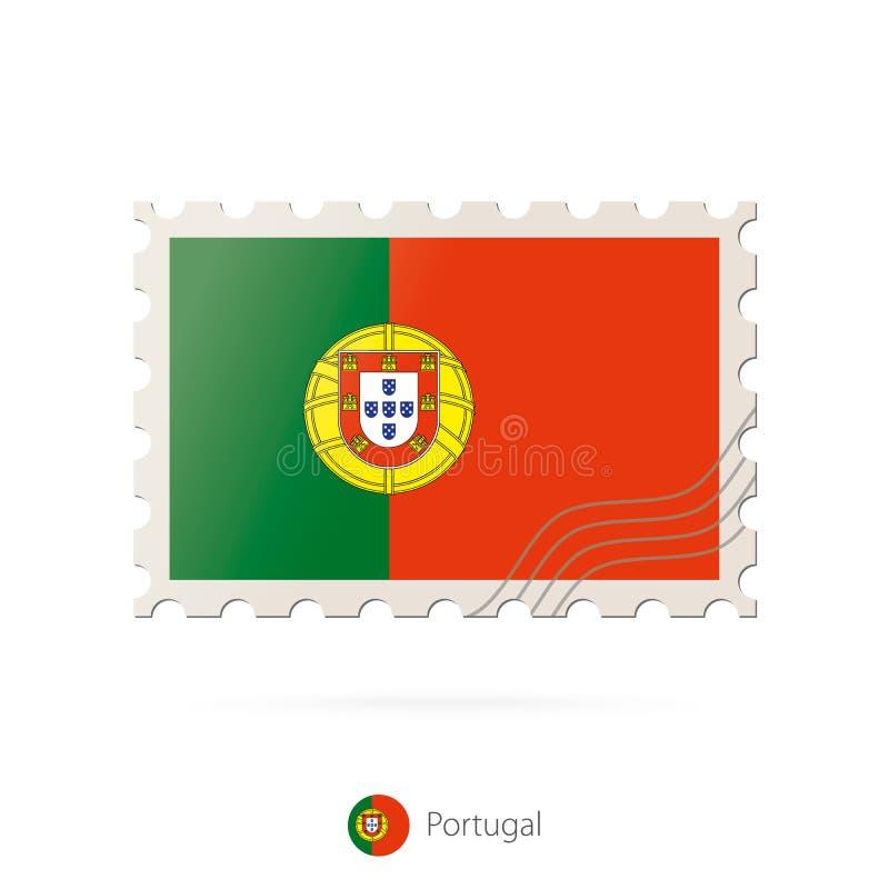Timbre-poste avec l'image du drapeau du Portugal illustration stock