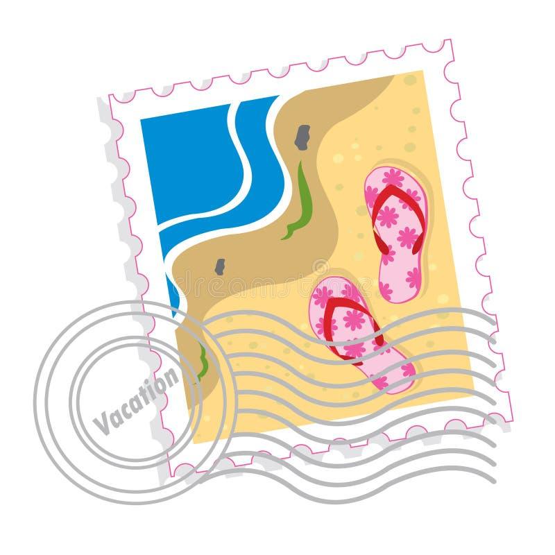 Timbre-poste avec les chaussons roses illustration de vecteur