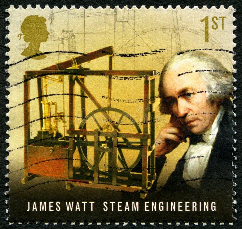 Timbre-poste BRITANNIQUE de James Watt image stock