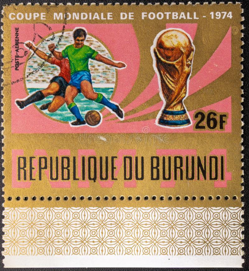 Timbre-poste 1974 Coupe du monde Le football La r?publique du Burundi photos libres de droits