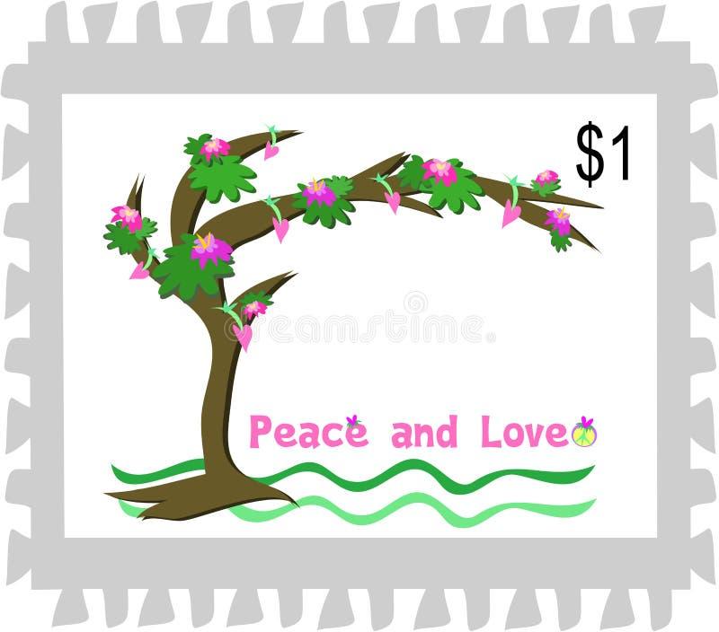 Timbre-poste d'un arbre de paix et d'amour illustration de vecteur