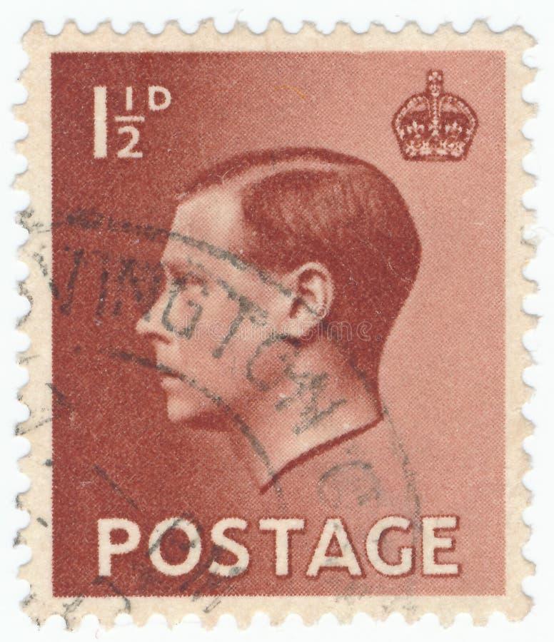 Timbre-poste de cru imprimé en Grande-Bretagne 1936, le Roi Edward VIII photographie stock