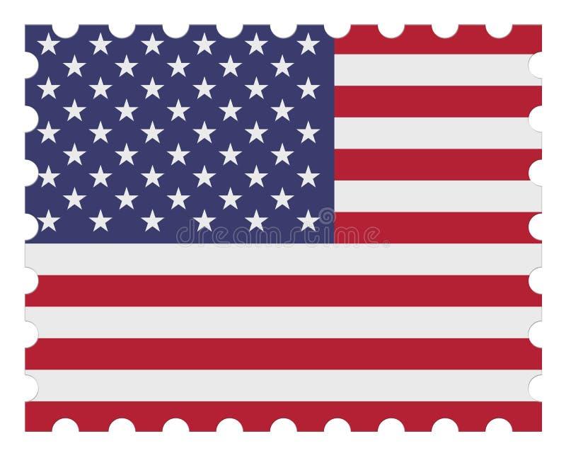 Timbre-poste de drapeau des Etats-Unis : illustration 3d sur le fond blanc illustration libre de droits