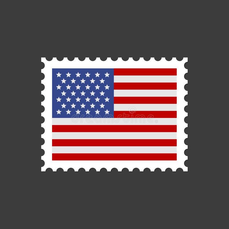 Timbre-poste de drapeau des Etats-Unis Vecteur illustration de vecteur