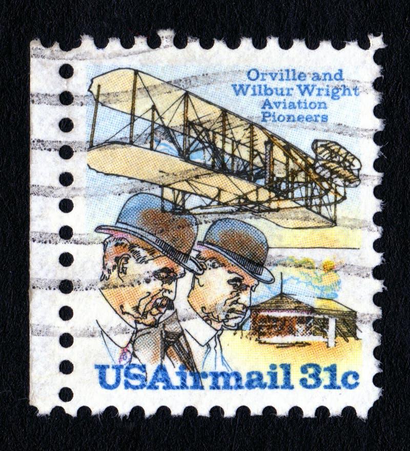 Timbre-poste de frères de Wright de cru photo stock