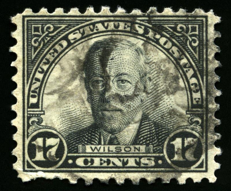 Timbre-poste des USA de vintage du Président Wilson image libre de droits