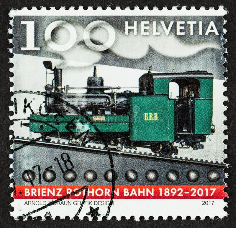 Timbre-poste 2017 ferroviaire d'anniversaire photographie stock