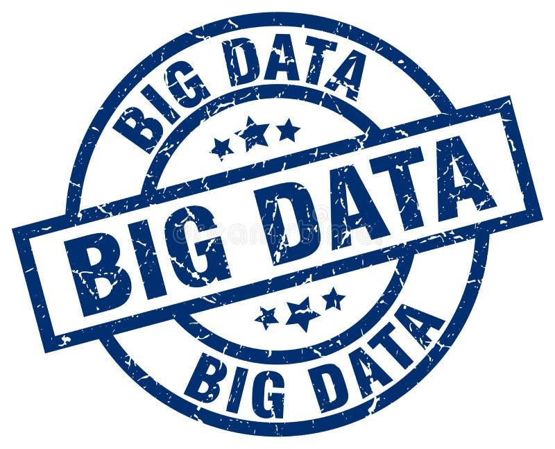 timbre rond bleu de grandes données illustration de vecteur