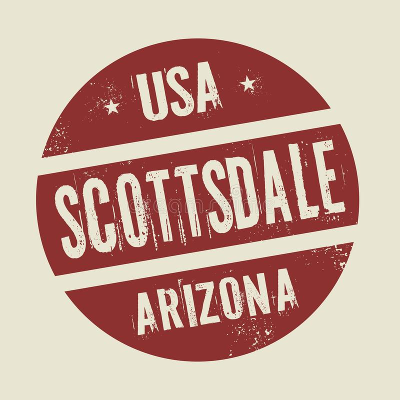 Timbre rond de vintage grunge avec le texte Scottsdale, Arizona illustration stock