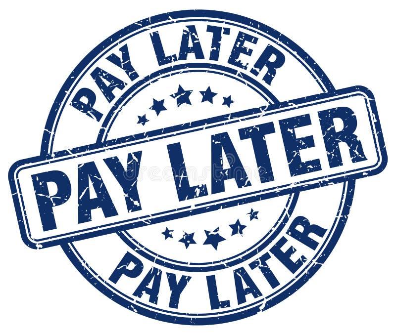 timbre rond grunge bleu postérieur de vintage de salaire illustration libre de droits